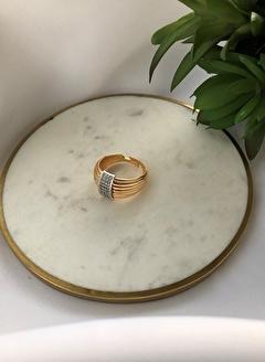 My Joyas Design Ortası Sıralı Gümüş Rengi Taşlı Yüzük